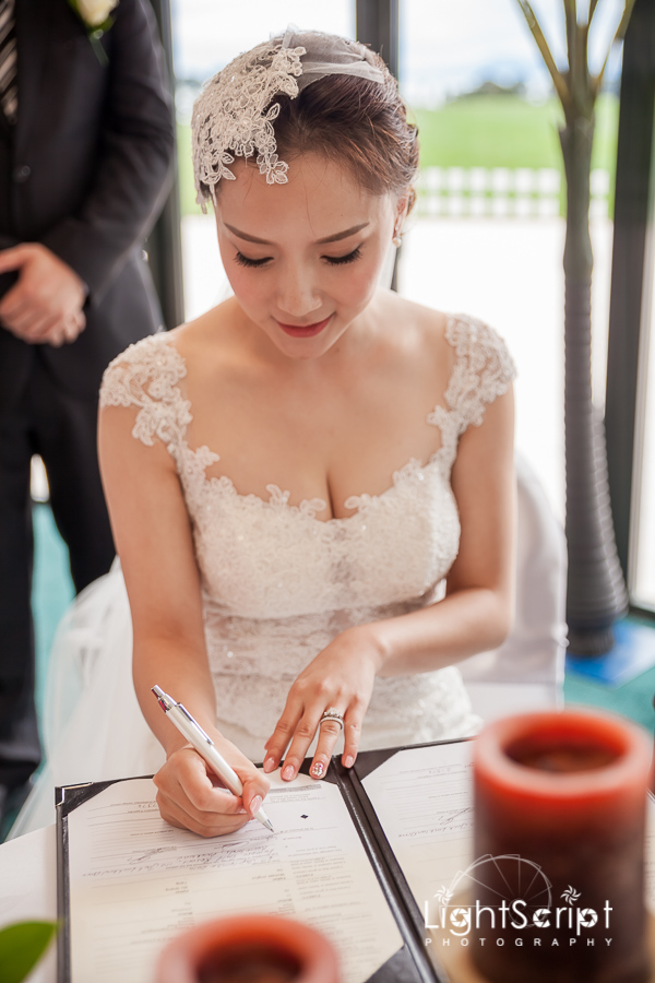 Bride put a signature